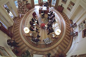 The Oval Office from above in 2001, during the...