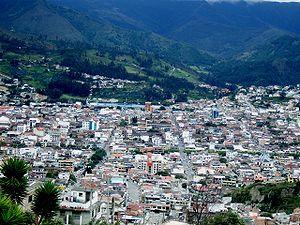 Vista general del centro de la ciudad de Loja,...