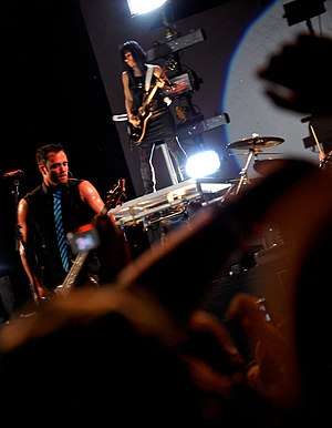 English: Skillet performs live at the Cornerst...