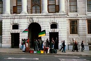 English: Anti-apartheid protest in London, UK,...