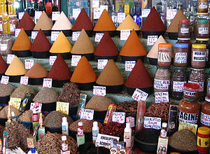 Spices at central market in Agadir (Morocco) F...
