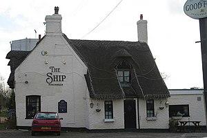 English: The Ship Inn, Pinchbeck. This thatche...