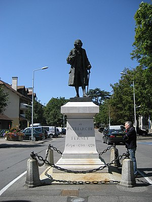 Statue of Voltaire, Ferney-Voltaire, France.