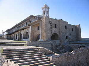 English: Apostolos Andreas Monastery from seaside