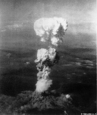 The mushroom cloud over Hiroshima after the dropping of the uranium-based atomic bomb nicknamed 'Little Boy'