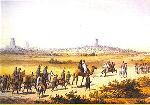 Caravan approaching Timbuktu in 1853 (from Tra...