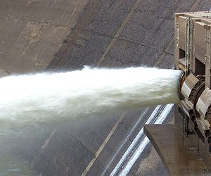 Clamshell floodgates at the Arrowrock Dam.