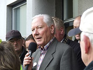 Irish broadcaster Gay Byrne speaking at a publ...