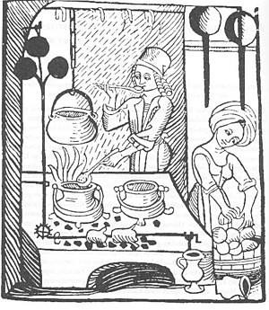 The roasting spit in this European medieval ki...