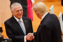 Temer and U.S. President Donald Trump during the 12th G20 summit in Germany, 8 July 2017.