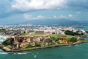 Aeriel view of Old San Juan with the Luquillo ...