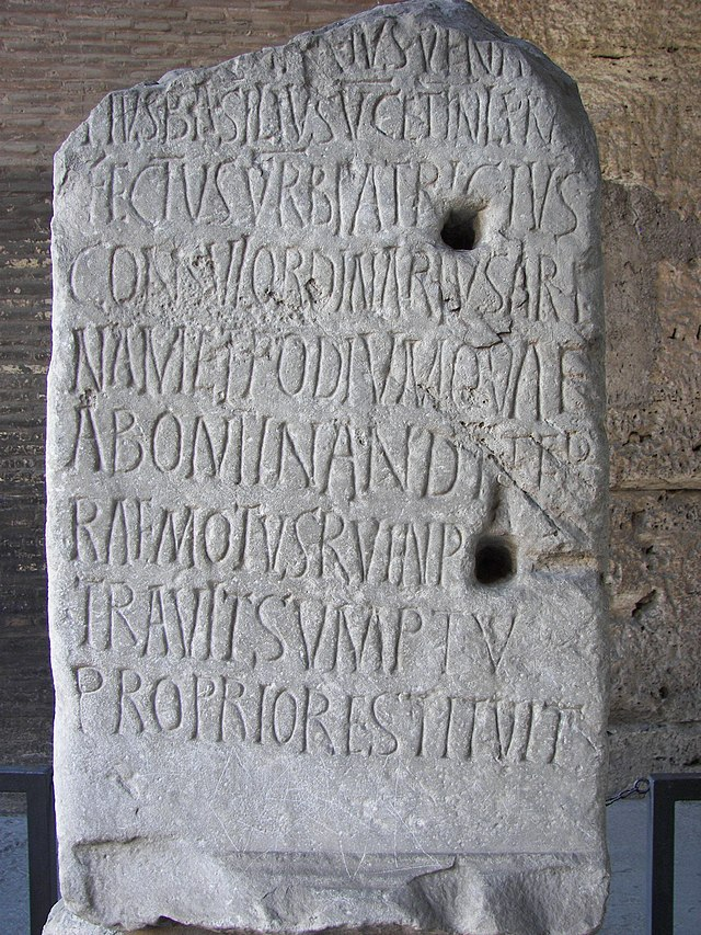 Inscription for 5th century Roman Consul Decius Marius Venantius Basilius in the Colosseum in Rome. CIL VI 1716 c, VI 32094 c    .Image.jpg