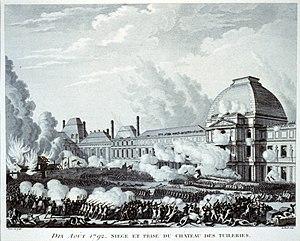 """English: """"Dix Aoú̀t 1792. Siege et prise ..."""