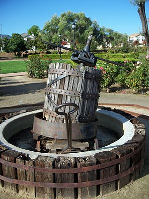 Wine press in Almaden winery. San Jose, Califo...