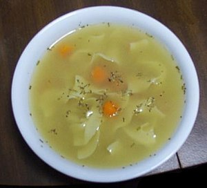 A common chicken soup variation, with egg nood...