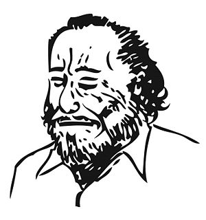 Drawing of writer Charles Bukowski