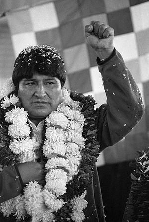 English: Bolivian president Evo Morales, weari...