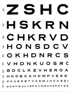 Reproduction of an opthalmic eye chart.