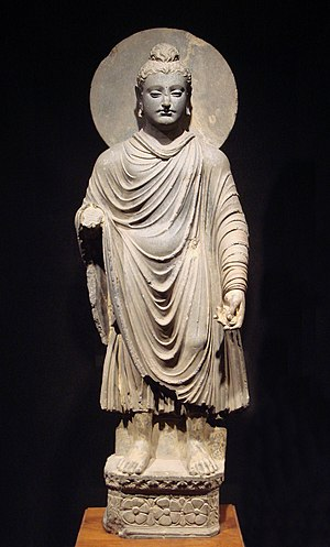 A Greco-Buddhist statue, one of the first repr...