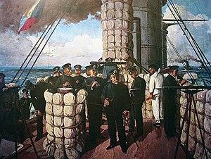 Admiral Togo on the bridge of Mikasa
