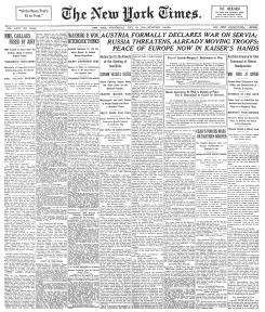 Portada del 29 de julio de 1914 en la que se anuncia la declaración de guerra del Imperio austrohúngaro a Serbia