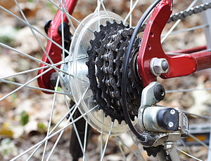 English: Rear gears on a bicycle Suomi: Polkup...