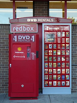English: a RedBox video rental kiosk located o...