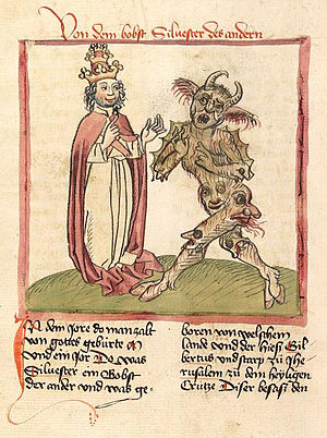 Pope Sylvester II and the Devil in an illustra...