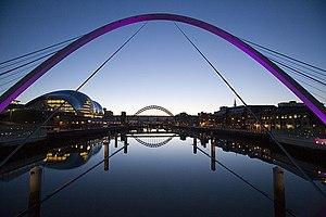 Millennium bridge at dusk, looking west up the...