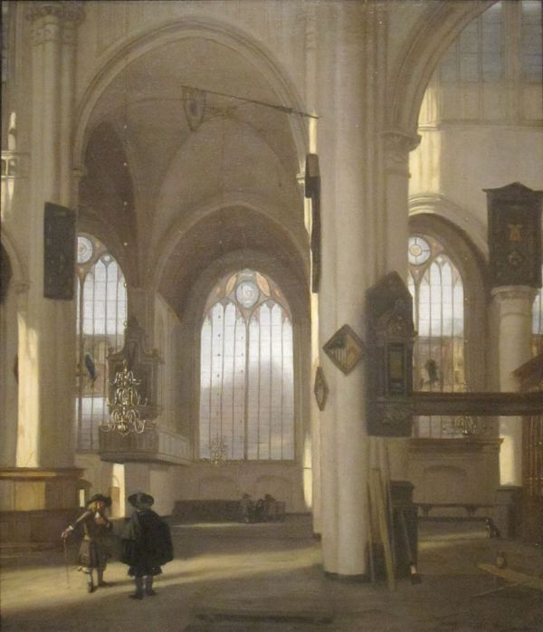 File 'interior Of Church' Oil Canvas Painting Emanuel De Witte . 1680 Cleveland