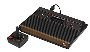 "English: An Atari 2600 four-switch ""wood ..."