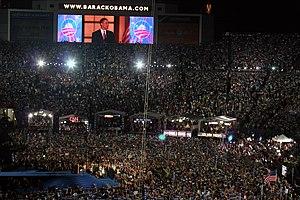 Barack Obama accepts the Democratic nomination...