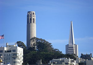 San Francisco: the Coit tower and the Transame...