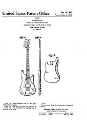 p bass body dimensions 97 grand cherokee fuse diagram guitar wikipedia design patent issued to leo fender for the second generation precision