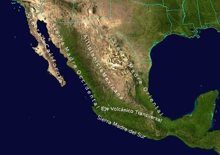 Geographic Map of Mexico