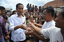Jokowi on a blusukan neighborhood visit in Jakarta