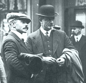 Lightoller, right, with third officer Herbert ...