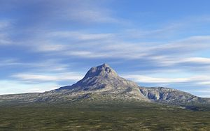 Artists depiction of Lonely Mountain, a mounta...
