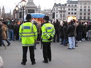 Metropolitan Police officers on patrol in Lond...