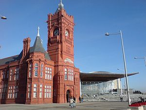 Pierhead and Senedd, Cardiff Bay, Wales