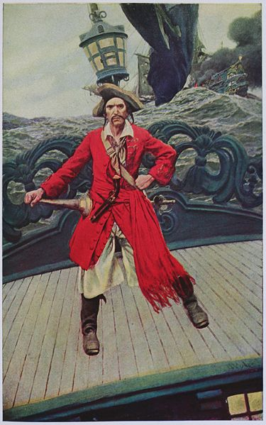 Howard Pyle illustration of pirate captain on deck, from Howard Pyles Book of Pirates.