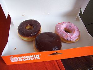 Various donuts from the Dunkin' Donuts store i...