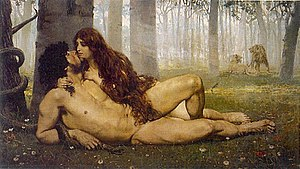The First kiss of Adam and Eve.