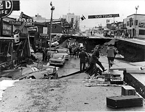 Damage to Fourth Avenue, Anchorage, Alaska, ca...