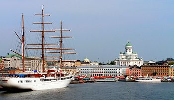English: Downtown Helsinki from the sea Suomi:...