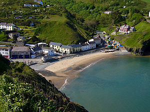 A view of the village of Llangrannog which is ...