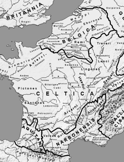 Map Gallia Tribes Towns