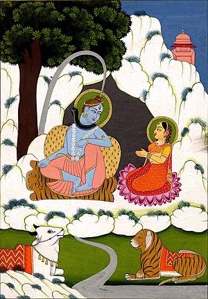 Gouache painting on paper. Śiva and Pārvatī on...