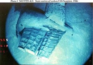 Navy photo of Scorpion's stern (wreck)