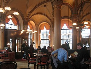 Interior of Café Central in Vienna, Austria.